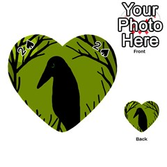 Halloween raven - green Playing Cards 54 (Heart)