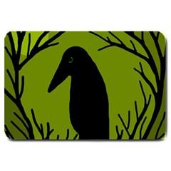 Halloween raven - green Large Doormat