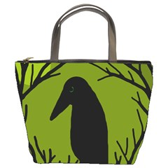 Halloween raven - green Bucket Bags