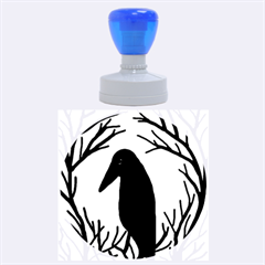Halloween raven - green Rubber Round Stamps (Large)