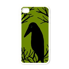 Halloween raven - green Apple iPhone 4 Case (White)