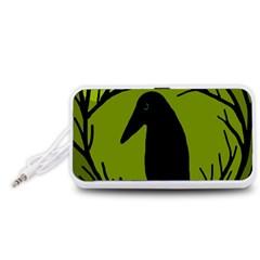 Halloween raven - green Portable Speaker (White)