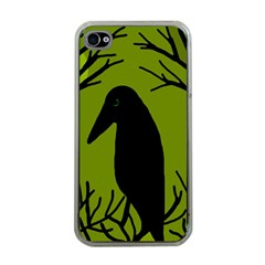 Halloween raven - green Apple iPhone 4 Case (Clear)