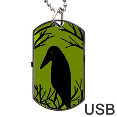 Halloween raven - green Dog Tag USB Flash (Two Sides)