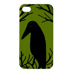 Halloween raven - green Apple iPhone 4/4S Premium Hardshell Case