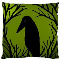 Halloween raven - green Large Cushion Case (Two Sides)