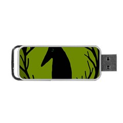 Halloween raven - green Portable USB Flash (Two Sides)