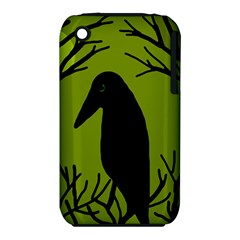 Halloween raven - green Apple iPhone 3G/3GS Hardshell Case (PC+Silicone)