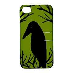 Halloween raven - green Apple iPhone 4/4S Hardshell Case with Stand