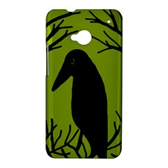 Halloween raven - green HTC One M7 Hardshell Case