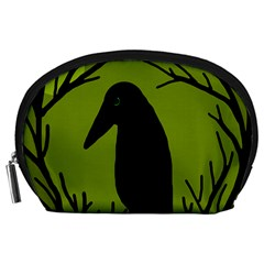 Halloween raven - green Accessory Pouches (Large)