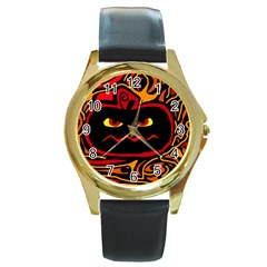 Halloween decorative pumpkin Round Gold Metal Watch