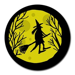 Halloween witch - yellow moon Round Mousepads