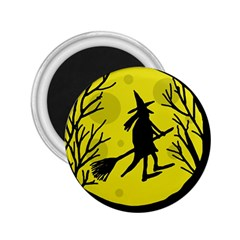 Halloween witch - yellow moon 2.25  Magnets
