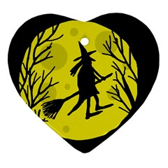 Halloween witch - yellow moon Ornament (Heart)