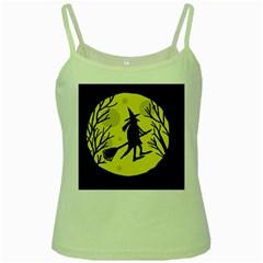 Halloween witch - yellow moon Green Spaghetti Tank