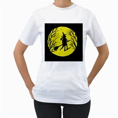 Halloween witch - yellow moon Women s T-Shirt (White) (Two Sided)