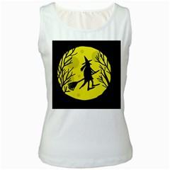 Halloween witch - yellow moon Women s White Tank Top