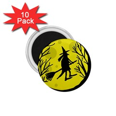 Halloween witch - yellow moon 1.75  Magnets (10 pack)