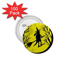 Halloween witch - yellow moon 1.75  Buttons (100 pack)