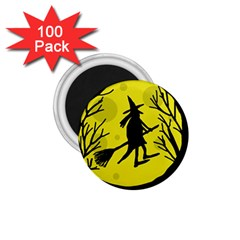 Halloween witch - yellow moon 1.75  Magnets (100 pack)
