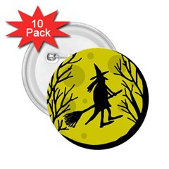 Halloween witch - yellow moon 2.25  Buttons (10 pack)