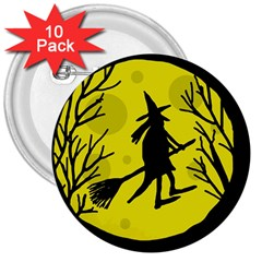Halloween witch - yellow moon 3  Buttons (10 pack)