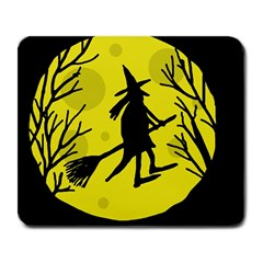 Halloween witch - yellow moon Large Mousepads