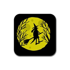Halloween witch - yellow moon Rubber Coaster (Square)