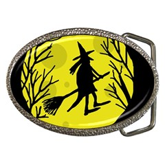 Halloween witch - yellow moon Belt Buckles