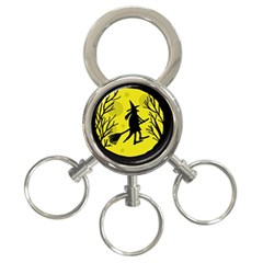 Halloween witch - yellow moon 3-Ring Key Chains