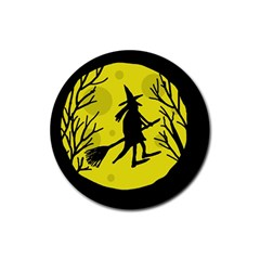 Halloween witch - yellow moon Rubber Coaster (Round)
