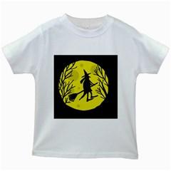 Halloween witch - yellow moon Kids White T-Shirts