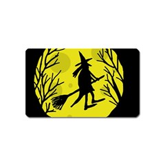 Halloween witch - yellow moon Magnet (Name Card)