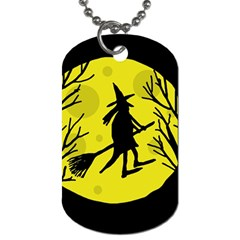 Halloween witch - yellow moon Dog Tag (One Side)