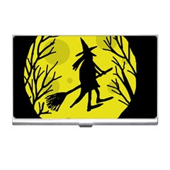 Halloween witch - yellow moon Business Card Holders