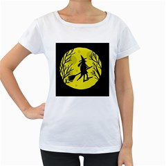 Halloween witch - yellow moon Women s Loose-Fit T-Shirt (White)