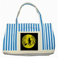 Halloween witch - yellow moon Striped Blue Tote Bag