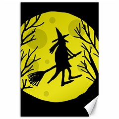 Halloween witch - yellow moon Canvas 12  x 18