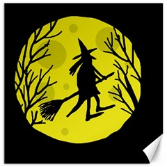 Halloween Witch   Yellow Moon Canvas 16  X 16