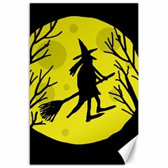 Halloween Witch   Yellow Moon Canvas 24  X 36