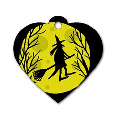 Halloween witch - yellow moon Dog Tag Heart (Two Sides)
