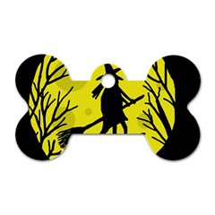 Halloween witch - yellow moon Dog Tag Bone (Two Sides)