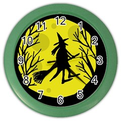 Halloween Witch   Yellow Moon Color Wall Clocks