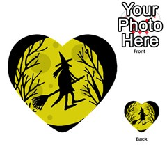 Halloween witch - yellow moon Multi-purpose Cards (Heart)