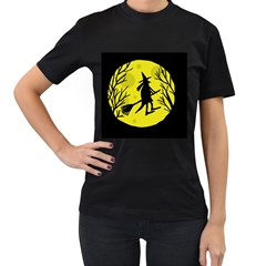 Halloween witch - yellow moon Women s T-Shirt (Black)