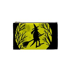 Halloween witch - yellow moon Cosmetic Bag (Small)