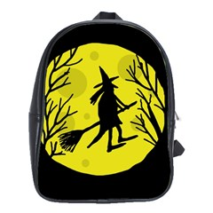 Halloween witch - yellow moon School Bags(Large)