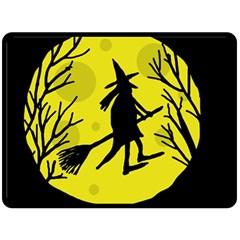 Halloween witch - yellow moon Fleece Blanket (Large)