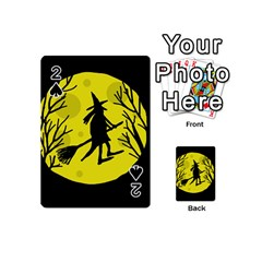 Halloween witch - yellow moon Playing Cards 54 (Mini)